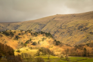 The view north from Thirlmere, with the Helvellyn range in the background.